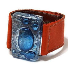 Load image into Gallery viewer, Recycled Fused Glass and Reclaimed Leather Bracelet.  Wide Cuff. Red Bracelet. Glass Jewelry