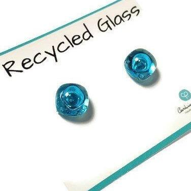 Post Earrings. Recycled glass Earrings. Turquoise Earrings Studs. Fused Glass Jewelry