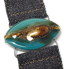 Load image into Gallery viewer, Teal Brown Fused Glass and reclaimed Denim Cuff.  Bracelet.