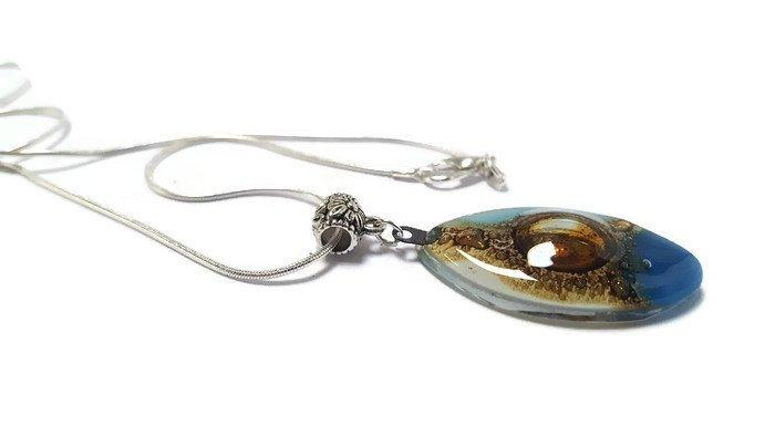 Blue, white and Brown Fused Glass leaf Pendant. Recycled Glass Necklace