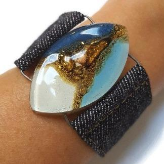 Blue, white and Brown Fused Glass and reclaimed Denim Cuff Bracelet.