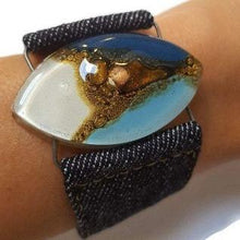 Load image into Gallery viewer, Blue, white and Brown Fused Glass and reclaimed Denim Cuff Bracelet.