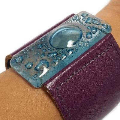 Wide Leather cuff . Glass and leather. Turquoise glass with Purple Leather Cuff. Glass wide bracelet