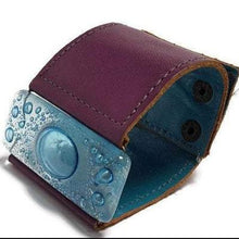 Load image into Gallery viewer, Wide Leather cuff . Glass and leather. Turquoise glass with Purple Leather Cuff. Glass wide bracelet
