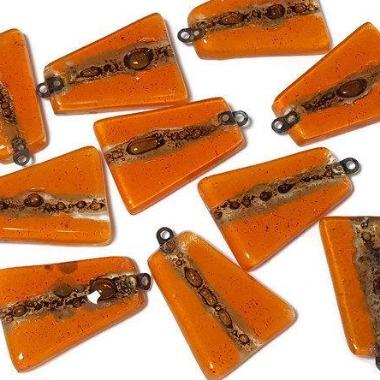 Orange Glass Beads. DIY Pendant Necklace. Jewelry maker elements Recycled Glass - Fiesta Beads