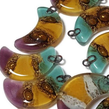Moon Beads. Colorful  DIY Pendant Necklace. Jewelry  Recycled Glass earring Components - Fiesta Beads
