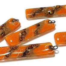 Load image into Gallery viewer, Long Earring Beads. Orange and brown. Reclaimed fused glass bead  to make dangle drop earring Components Beadwork - Fiesta Beads