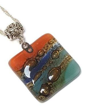Artisan Colorful Glass Beads. DIY Pendant Necklace Charm. Fun Jewelry making supplies Fused Upcycled Glass - Fiesta Beads
