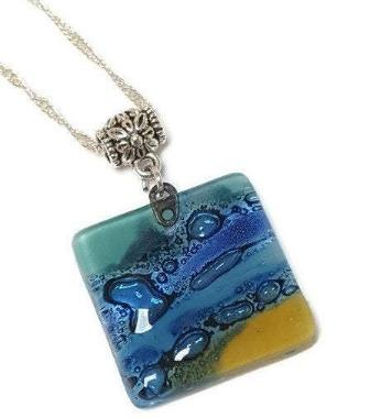 Artisan Glass Beads DIY Pendant Necklace. Band yellow Jewelry making supplies Fused Upcycled Glass - Fiesta Beads