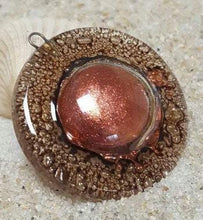 Load image into Gallery viewer, Amazing round bead. Copper Unique bubbles. Upcycled glass circular bead for pendant/necklace. DIY jewelry project component - Fiesta Beads