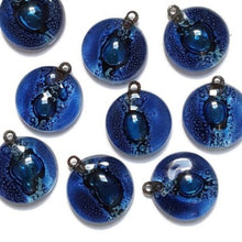 Load image into Gallery viewer, Artisan Glass Beads. Small round blue DIY Earring/pendant component for making supplies Fused Upcycled  Glass