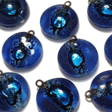 Artisan Glass Beads. Small round blue DIY Earring/pendant component for making supplies Fused Upcycled  Glass