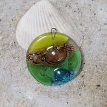Load image into Gallery viewer, Round circular Green, turquoise and brown bead.  DIY Pendant Necklace for Jewelry making. Upcycled FusedGlass elements Components.