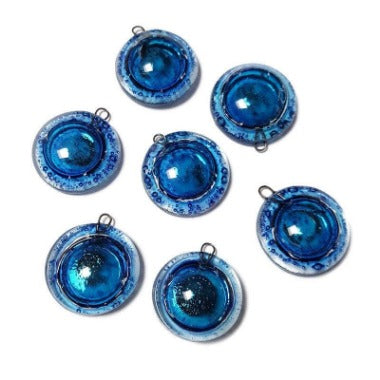 Artisan Glass Beads. Small blue round DIY Earring component for making supplies Fused Upcycled  Glass bubbles
