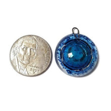 Load image into Gallery viewer, Artisan Glass Beads. Small blue round DIY Earring component for making supplies Fused Upcycled  Glass bubbles