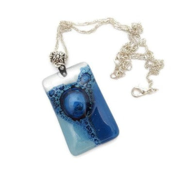 Handcrafted repurposed fused glass bead charm pendant necklace for jewelry making, mosaic and DIY craft art project. Glass with bubbles.