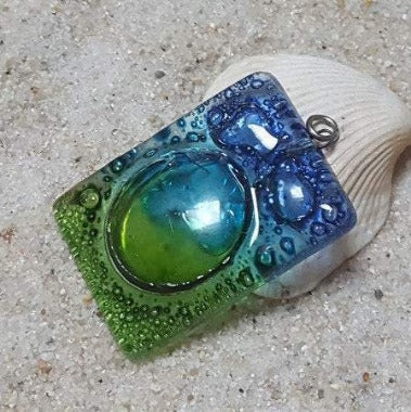 AMAZING Large Blue Green Fused glass Bead for DIY Pendant NecklaceCenter piece. Jewelry making, Upcycled Glass
