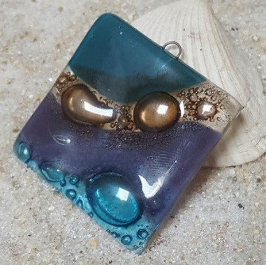 Glass artisan bead. Purple, teal and brown Square element component for jewelry and craft making. Pendant necklace.