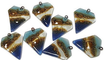 Load image into Gallery viewer, Blue Brown Beads Recycled Fused Glass. Pendant Necklace. Jewelry making Designing DIY. Components - Fiesta Beads