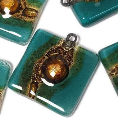 Handmade Upcycled fused Glass Beads. DIY Pendant Necklace. Teal and brown Jewelry making elements - Fiesta Beads