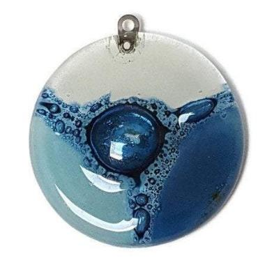 Blue-White  DIY Pendant Necklace for Jewelry making. Upcycled Glass elements Components. Round Circular Bead. - Fiesta Beads