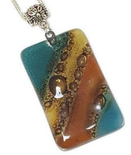 Load image into Gallery viewer, Reclaimed Glass Bead. Teal Brown Jewelry making DY component for designer. Pendant Necklace, Upcycled - Fiesta Beads