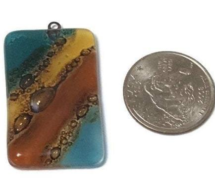 Reclaimed Glass Bead. Teal Brown Jewelry making DY component for designer. Pendant Necklace, Upcycled - Fiesta Beads