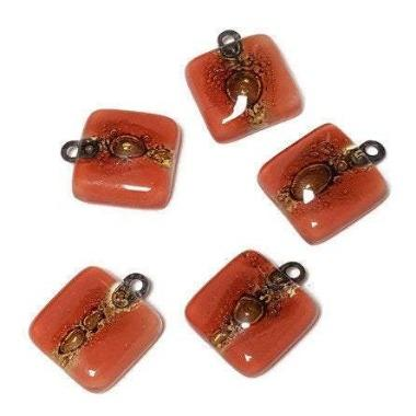 Small bead for earring making. Red and Brown DIY Jewelry.  Upcycled Glass dangle drop earring Components Beadwork - Fiesta Beads