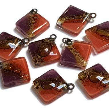 Artisan Glass Beads. Small square red, purple and Brown. DIY Earring component for making supplies Fused Upcycled  Glass element