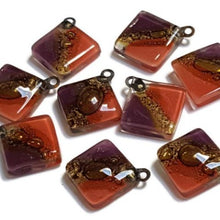Load image into Gallery viewer, Artisan Glass Beads. Small square red, purple and Brown. DIY Earring component for making supplies Fused Upcycled  Glass element