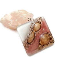 Load image into Gallery viewer, Pink Fused glass Bead for DIY Pendant Necklace. Jewelry making, Mosaic,  wire wrap  and crafts. Upcycled Reclaimed Glass charm