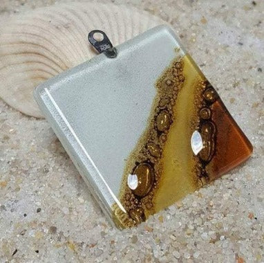 Neutral Earthy colors Upcycled  reclaimed square handcrafted kiln fused glass bead for jewelry making, pendant bead