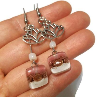 Lotus Flower Recycled Glass Dangle Earrings. Handcrafted fused beads. Long Pink and White drops. Best gift!