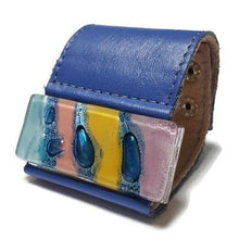 Load image into Gallery viewer, Wide Leather Cuff. Blue Leather Bracelet. Recycled glass Bracelet. Blue leather Cuff with a yellow -blue colorful handcrafted bead.