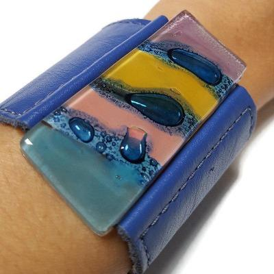Wide Leather Cuff. Blue Leather Bracelet. Recycled glass Bracelet. Blue leather Cuff with a yellow -blue colorful handcrafted bead.