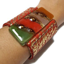 Load image into Gallery viewer, Wide Leather Cuff. Red golden Leather Bracelet. Recycled glass Bracelet.  Red, Green and brown cuff. Reclaimed Super soft leather.
