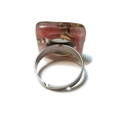 Adjustable Stainless steel ring, Recycled Fused Glass elegant statement jewelry. Colorful, handcrafted fun to wear ring
