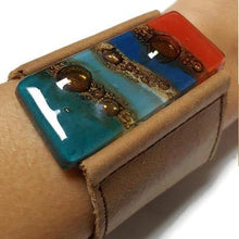 Load image into Gallery viewer, Wide Leather Cuff. Blue Leather Bracelet. Blue red and Teal Recycled glass and light brown soft leather Bracelet. Ecofashion holiday gifts