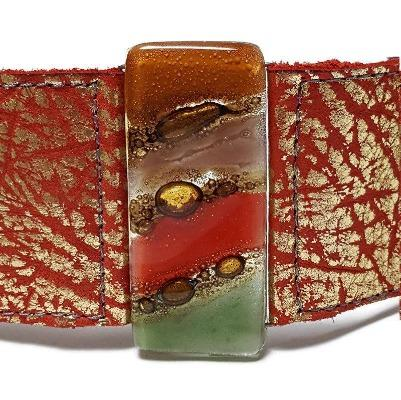 Wide Leather Cuff. Red golden Leather Bracelet. Recycled glass Bracelet.  Red, Green and brown cuff. Reclaimed Super soft leather.