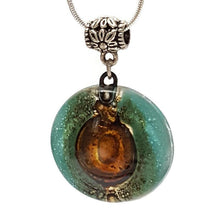 Load image into Gallery viewer, Blue Green, Teal Recycled fused glass pendant. Awesome golden bubbles. Handmade necklace. Eco friendly best holiday gifts.