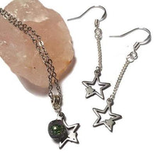 Load image into Gallery viewer, Long star earrings and pendant jewelry set. Purple and green Recycled fused glass bead necklace. Dainty celestial jewelry. Magical