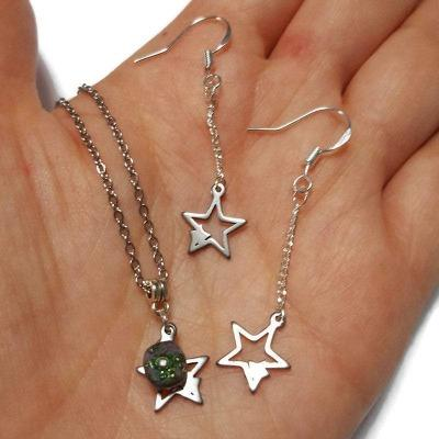 Long star earrings and pendant jewelry set. Purple and green Recycled fused glass bead necklace. Dainty celestial jewelry. Magical