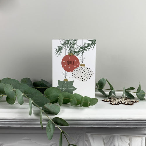 Christmas Baubles Greetings Card