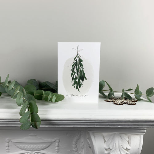 Mistletoe Kisses Christmas Greetings Card