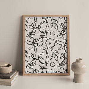 Fika Floral Repeat Print in Charcoal