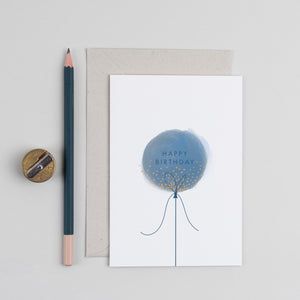Blue Birthday Balloon Greetings Card