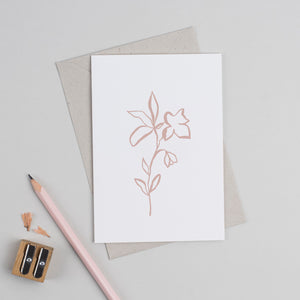 Fika Floral Greetings Card in Plaster
