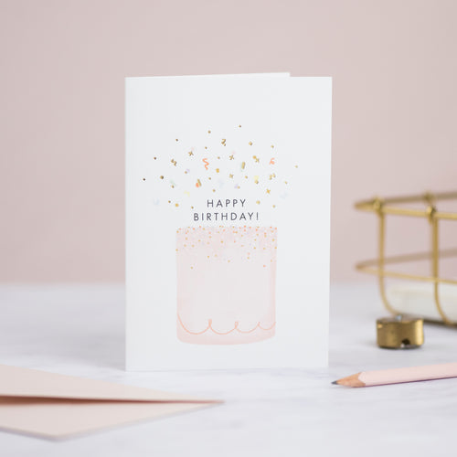 Confetti Happy Birthday Cake Card