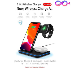 BiT-  15W 3 in 1 Qi Wireless Charger Stand for iPhone / AirPods / Apple Watch