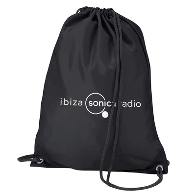 Sonica White Landscape Logo Water Resistant Sports Gymsac Drawstring Day Bag-Ibiza Sonica Store